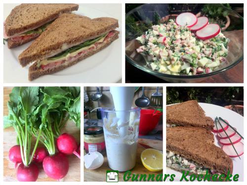 Radieschen, Blitz-Mayonnaise und Sandwiches