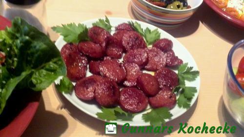 Gebratene Sucuk - Türkische Knoblauchwurst