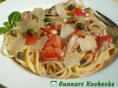 Spaghetti mit Thunfisch-Kapern-Sauce