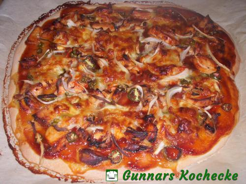 Barbecue Chicken Pizza (etwas zu lange gebacken)